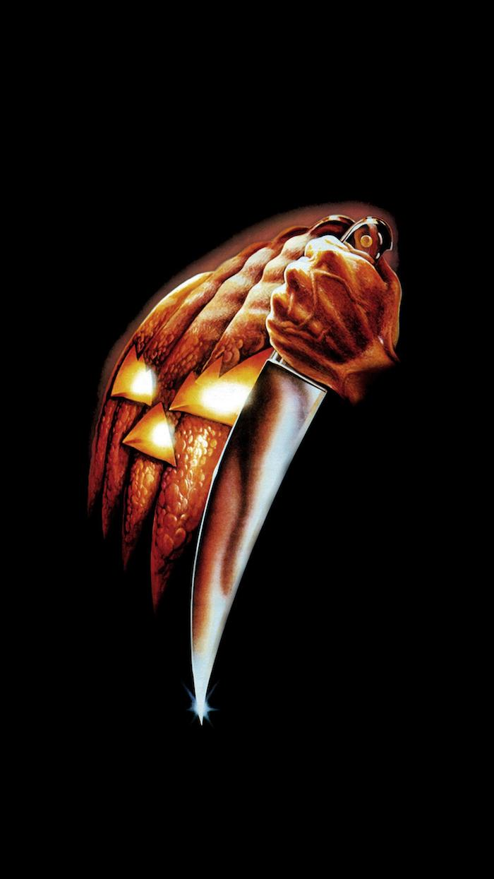 poster for the movie halloween scary halloween wallpaper jack o lantern mask and knife on black background