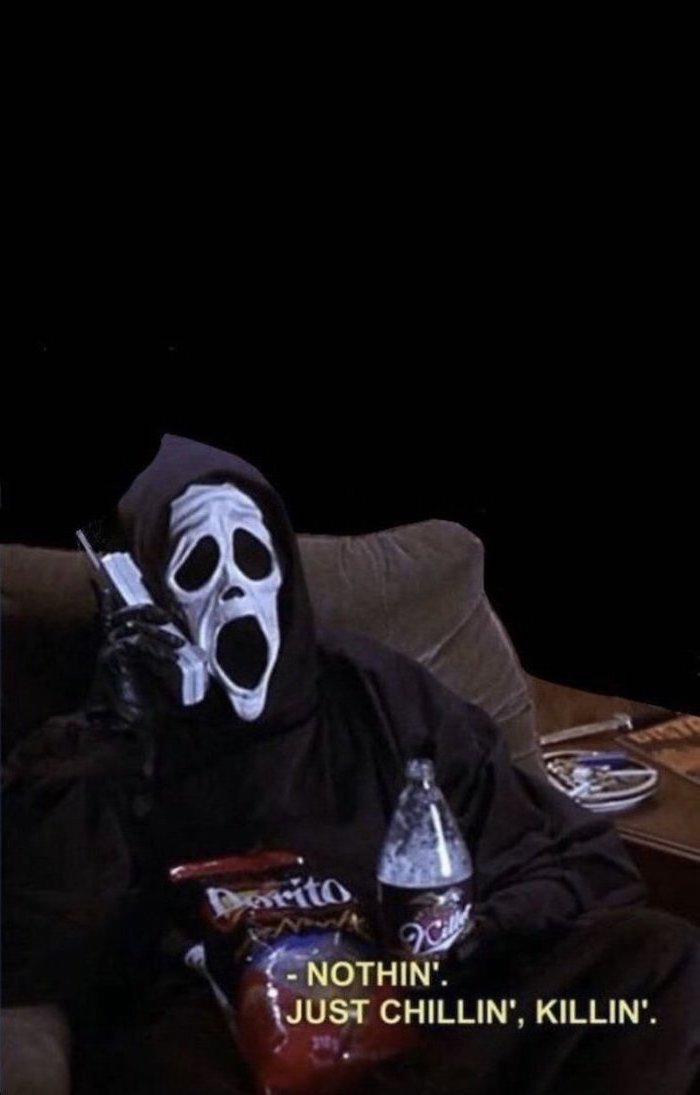 scary halloween wallpaper still from the scary movie scary halloween wallpaper man with scream mask sitting in armchair talking on the phone