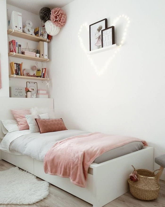 shelves on the wall above the bed cute room ideas white walls fairy lights in the shape of a heart wooden floor