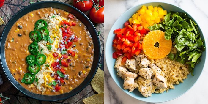 side by side photos of quinoa chicken soup with peppers spinach tomatoes instant pot recipes black and blue bowls