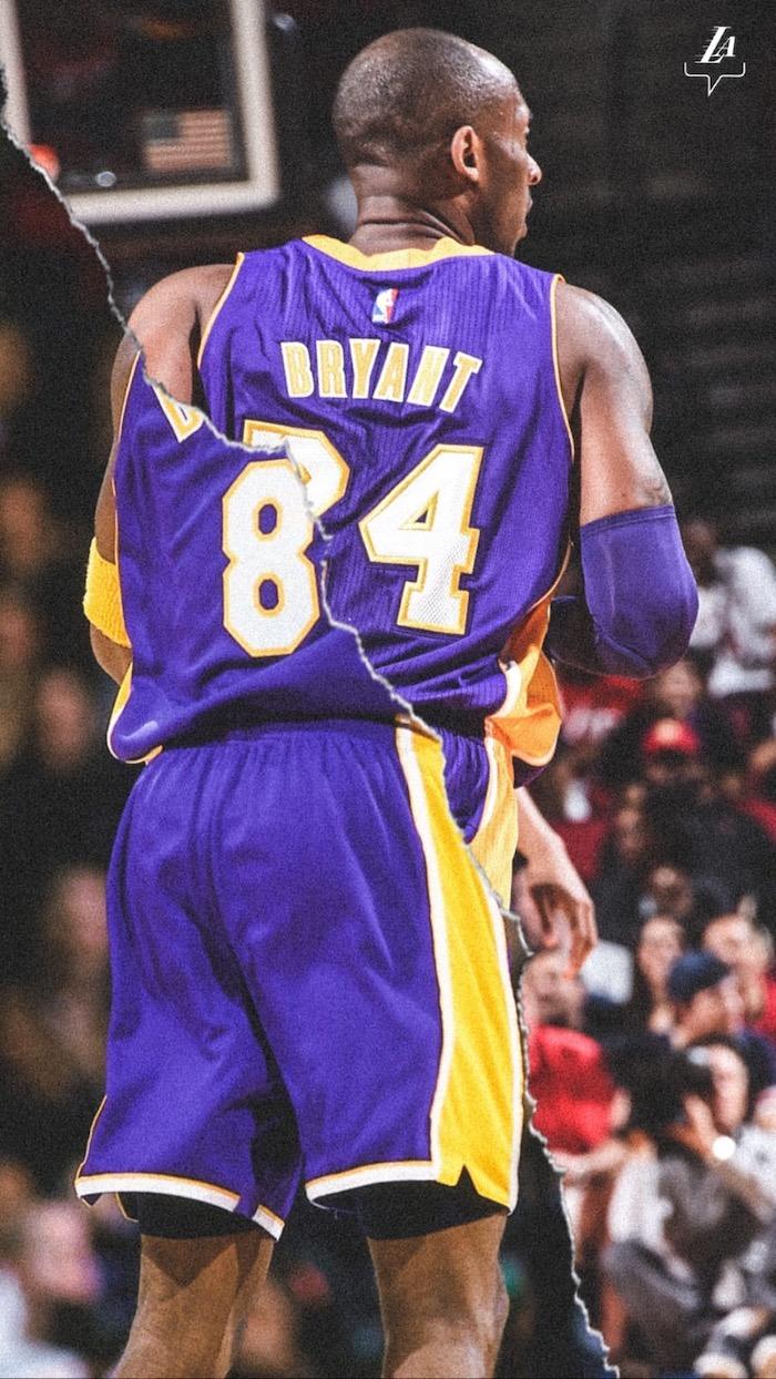 split photo of kobe wearing number eight and number twenty four kobe bryant wallpaper purple lakers uniform