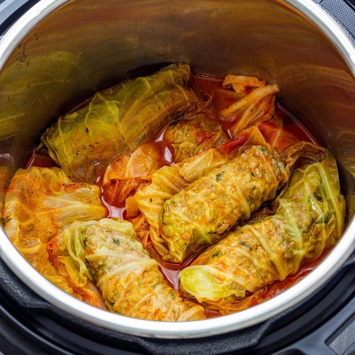 stuffed cabbage rolld with minced meat cooked inside instant pot dinner recipes with veggie broth