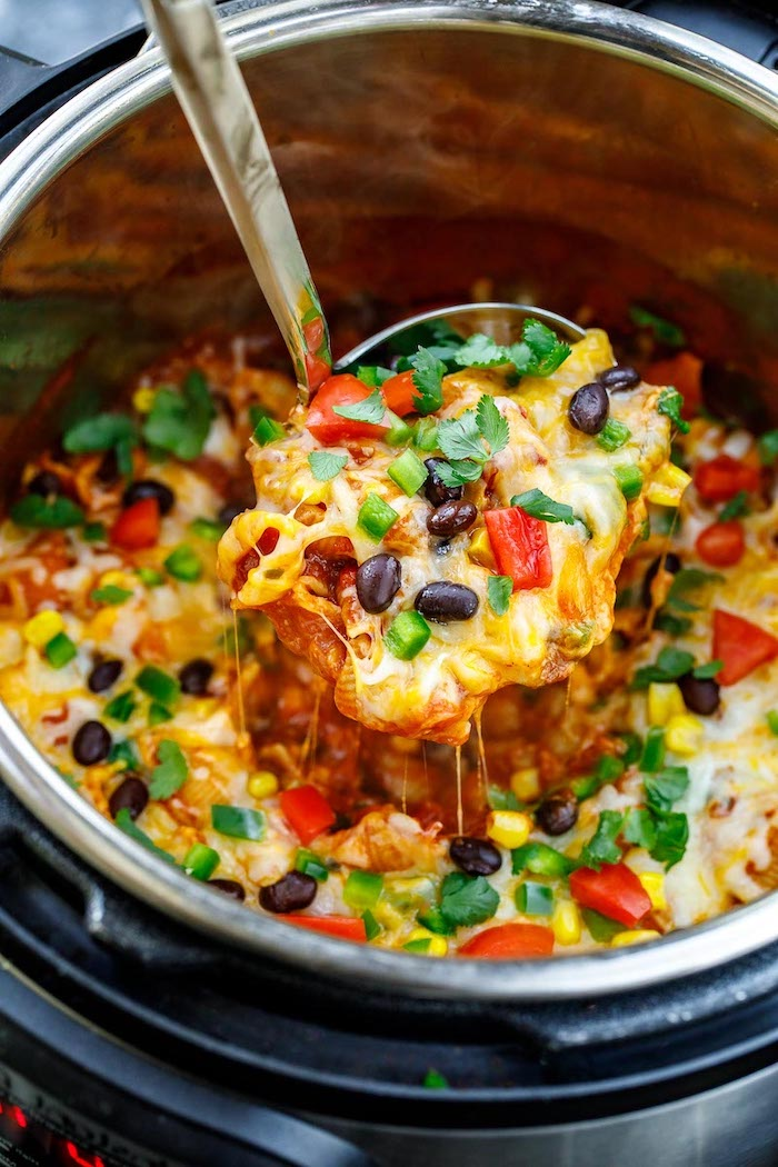 taco paste with black beans peppers corn cheese garnished with parsley instant pot chicken recipes healthy
