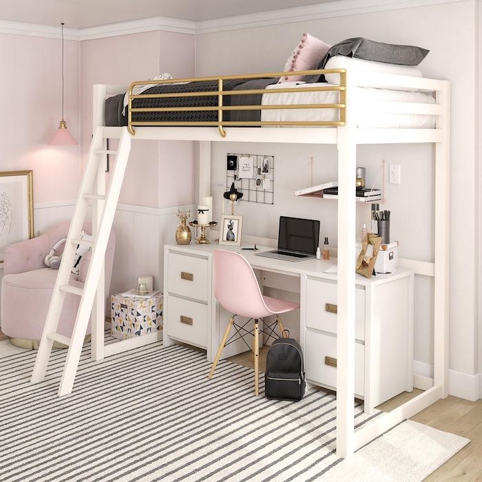 teenage girl bedroom ideas for small rooms light pink walls wooden floor with white carpet bed up high desk underneath