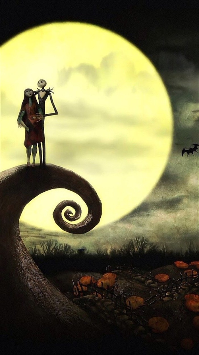 the nightmare before christmas jack skellington and sally standing on rock halloween desktop wallpaper full moon in the background