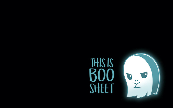 this is boo sheet written with blue letters next to digital drawing of cute ghost on black background halloween iphone wallpaper