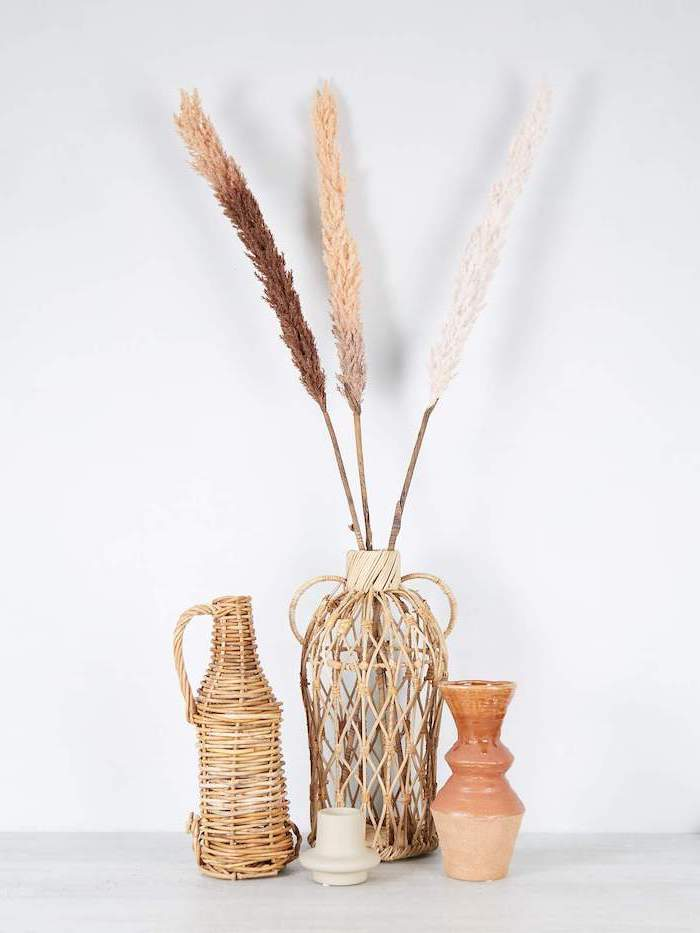 three jugs vases arranged on white surface colored pampas grass inside one of them photographed on white background