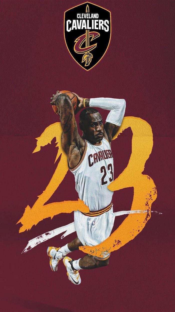 twenty three written abross a photo of lebron jumping in the air about to dunk the ball wearing cavaliers uniform lebron james lakers wallpaper red background