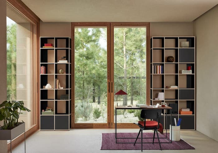 two sets of bookshelves on both sides of large glass door bookcase ideas small wooden desk with black metal chair