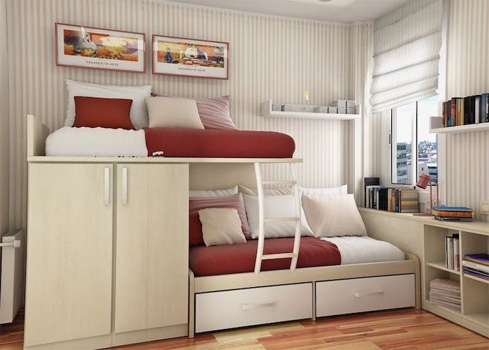 two storey bed with red white throw pillows drawers cabinets teenage girl bedroom ideas white beige striped walls wooden floor