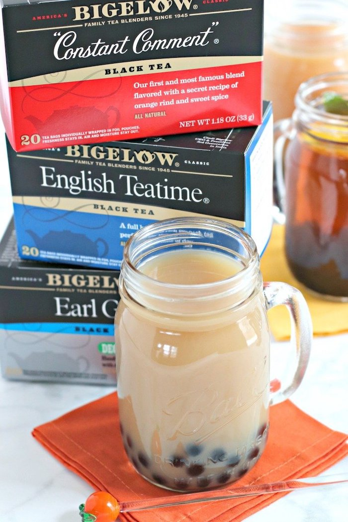 vegan bubble tea how to cook tapioca pearls glass jug filled with tea and tapioca pearls boxes of tea in the background