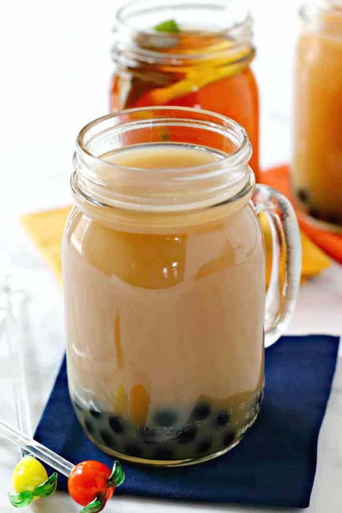 vegan bubble tea placed inside galss jug on blue napkin how to cook tapioca pearls