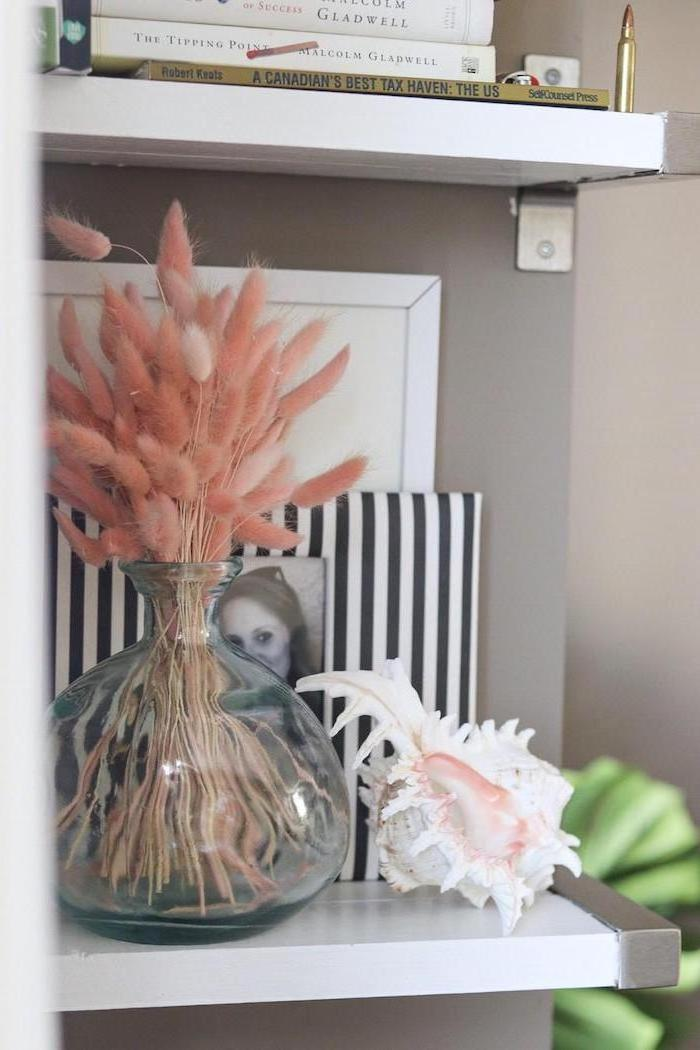 where to buy pampas grass white shelves on gray wall small glass vase with pink pampas grass framed photos