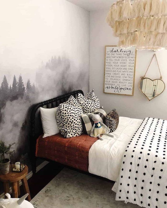 white walls teenage girl bedroom ideas wallpaper with forest landscape behind the bed dark wooden floor