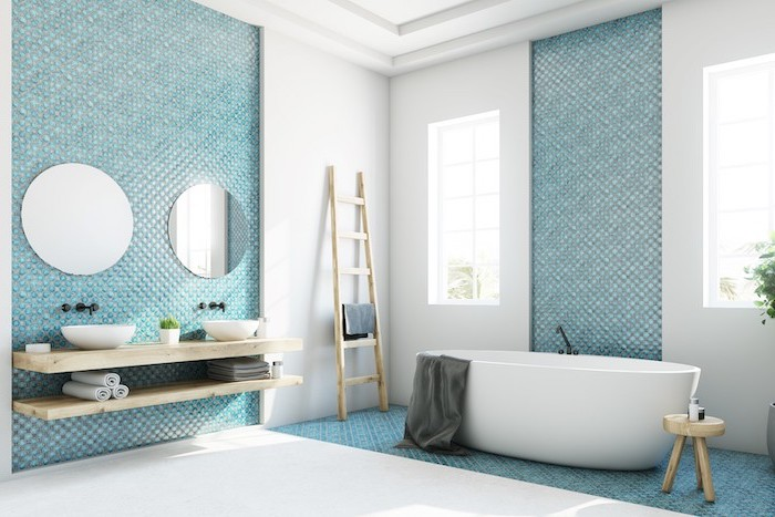accent walls with turquoise mosaic tiles white on the sides bathroom floor tiles in white wooden floating vanity
