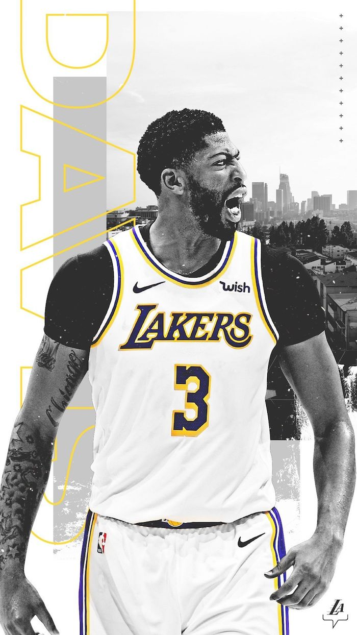 anthony davis wallpaper photographed on the court screaming wearing white lakers uniform