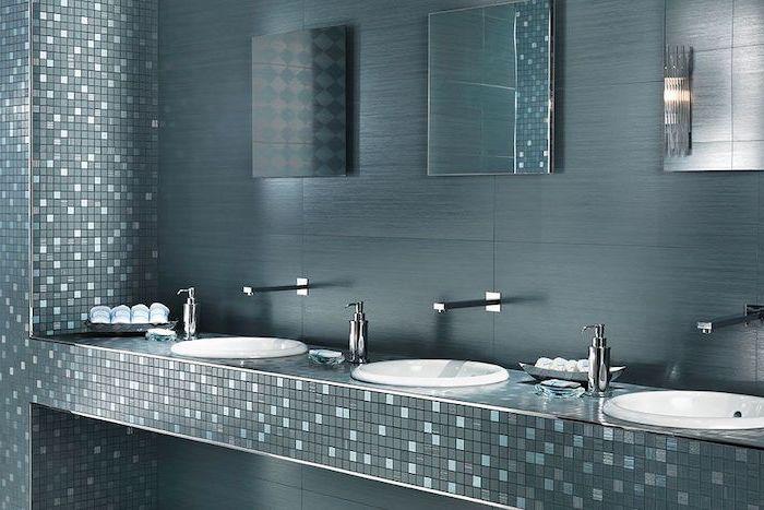 bathroom floor tiles vanity with three sinks mosaic turquoise green tiles dark green tiles behind the mirrors