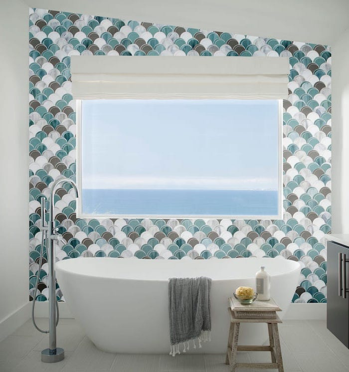 bathroom shower tile ideas mermaid scale like tiles in green brown white gray accent wall behind the bathtub