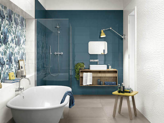 bathroom wall tile ideas blue tiles on the wall behind the shower and sink tiles with blue flowers behind the bathtub