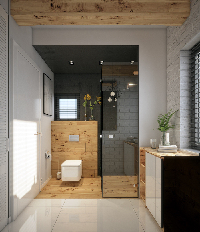 bathroom with exposed wood beams white brick wall white tiles scandinavian living room shower separated with glass