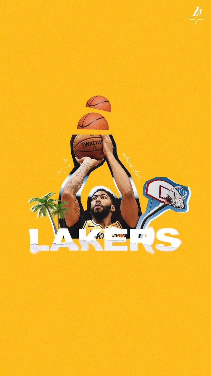 best basketball wallpapers photo collage of anthony davis shooting the basketball rim and palm trees next to it