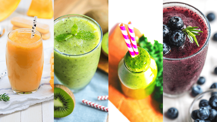 best detox drink photo collage four different glasses with smoothies in different colors fruits around them