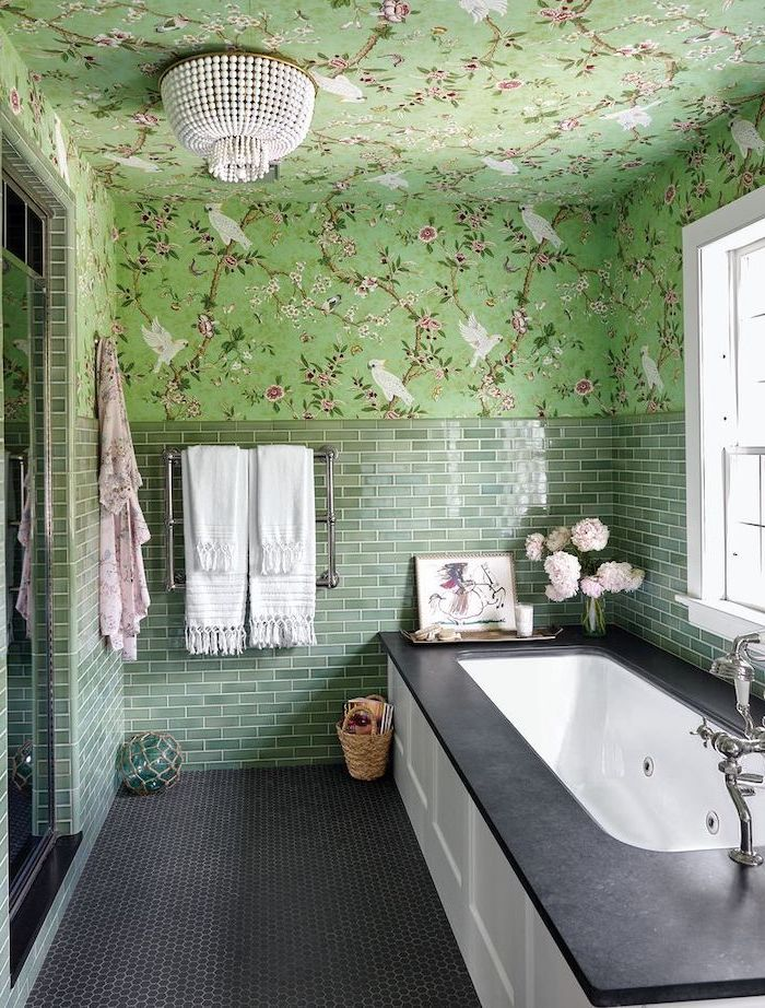best flooring for bathroom green subway tiles on half of the wall the rest of the wall and ceiling with colorful green wallpaper