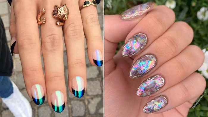 black and blue monochromatic nails simple nail designs side by side nails with almond shapes
