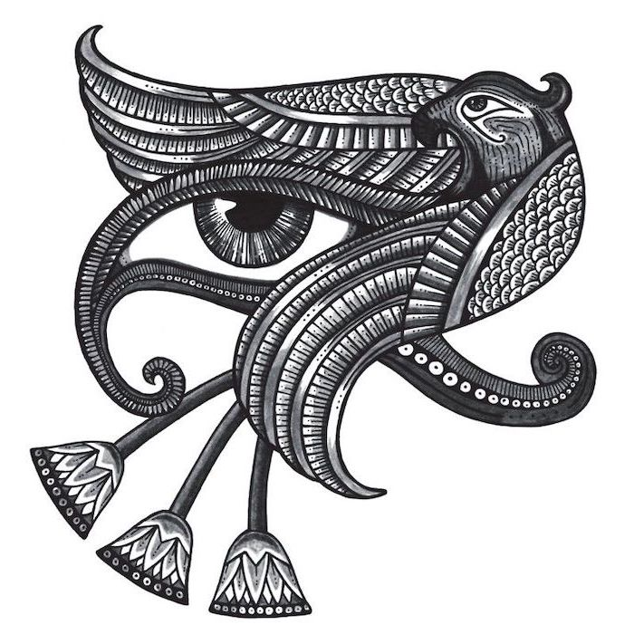 black and white drawing of eagle and eye connected together on white background meaningful tattoos for women