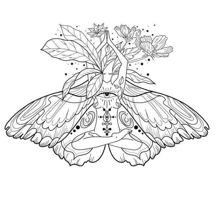 black and white drawing of woman meditating with butterfly wings all seeing eye in the middle symbols with deep meanings