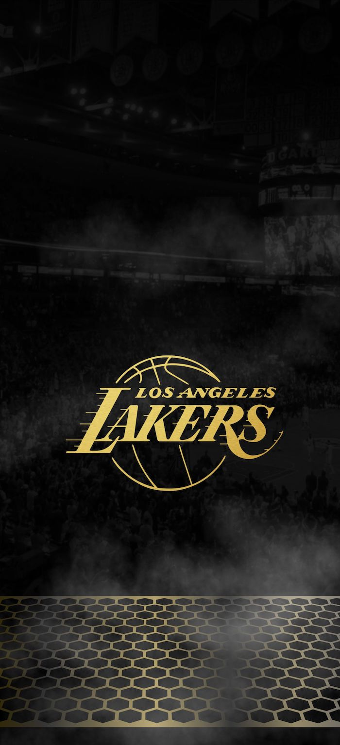 black background los angeles lakers logo drawn in gold in the middle nba background