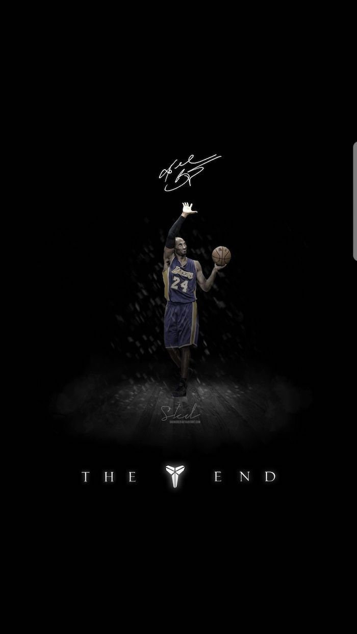 black background nba background kobe bryant in the middle waving his hand wearing lakers uniform kobe signature above him