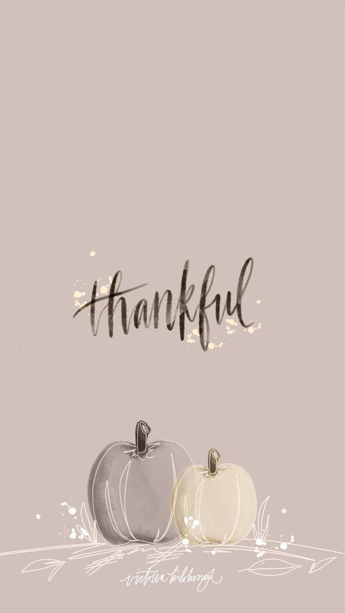 black cursive font thankful written over drawings of two pumpkins free thanksgiving wallpaper light pink background