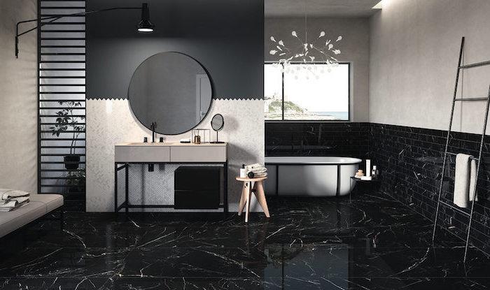 black marble tiles on the floor bathroom backsplash ideas black subway tiles on half of the walls