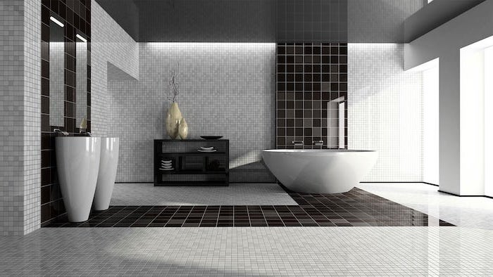 black square tiles going from the wall behind the sink to the floor to the wall behind the bathtub bathroom tile ideas mosaic walls