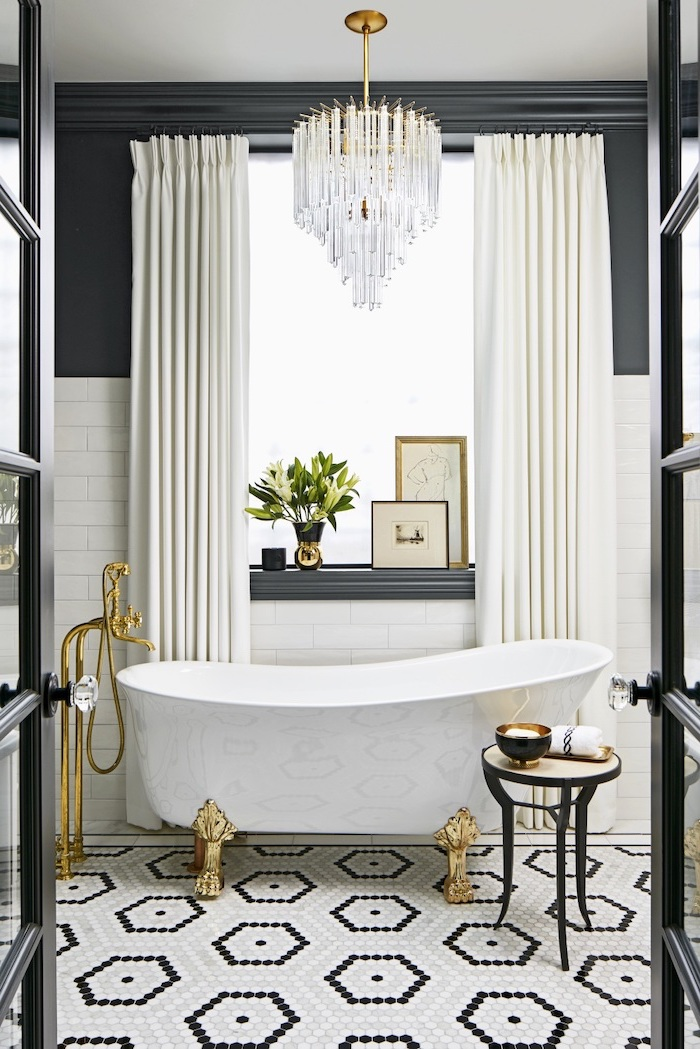 black wall with white subway tiles bathroom tile ideas for small bathrooms mosaic tiles on the floor in black and white cintage bathtub with gold faucet