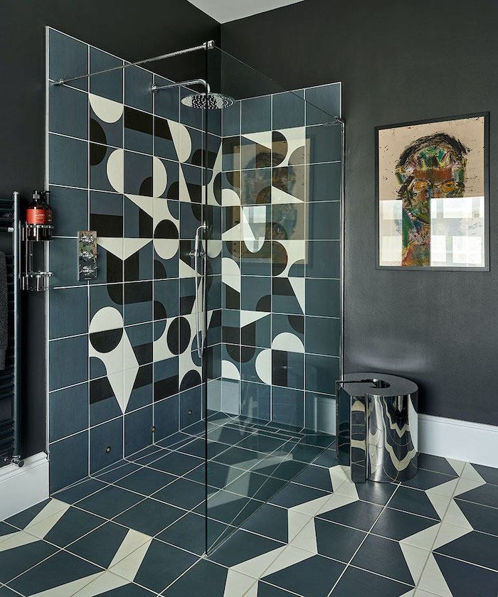 black walls bathroom tile ideas for small bathrooms dark green tilles with black and white geometrical prints on the shower walls and floor