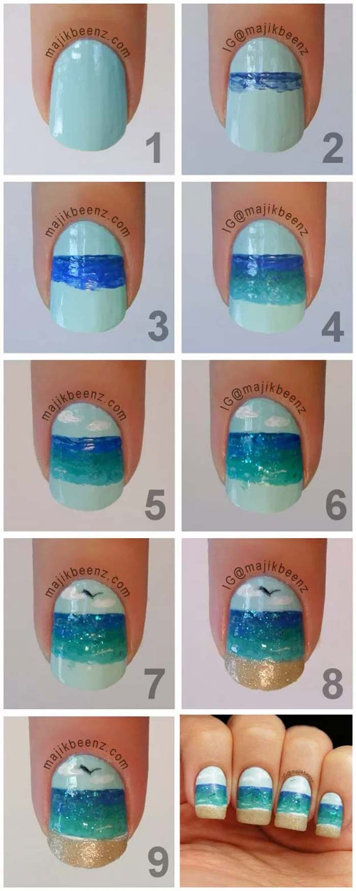 blue and gold ocean landscape decoration cute acrylic nail ideas step by step diy tutorial photo collage