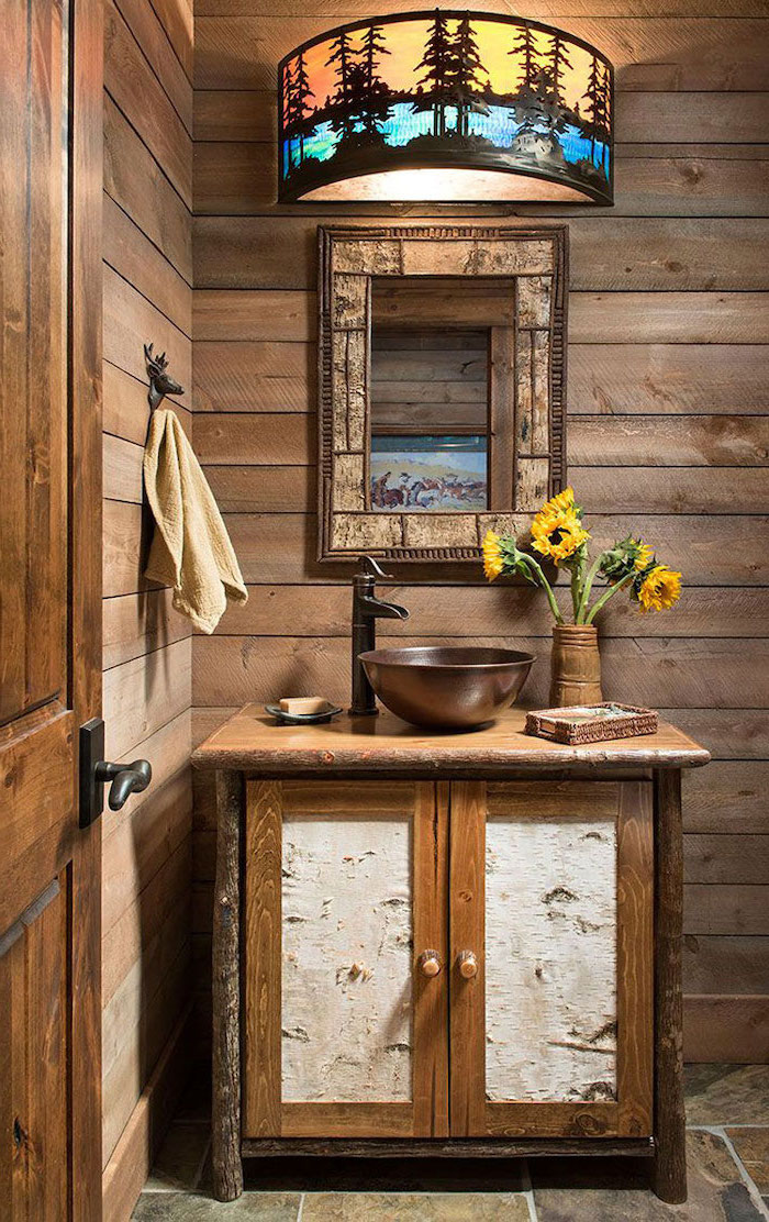 blue and orange colored lamp above wooden vanity modern farmhouse bathroom vanity mirror on wooden shiplap wall