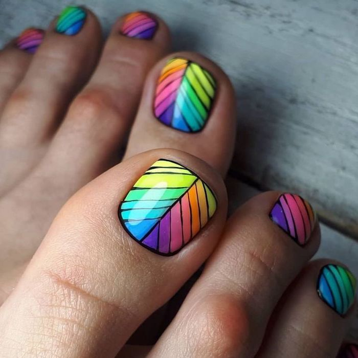 blue green yellow purple pink orange lines on nails with black outlines cute nail designs pedicure