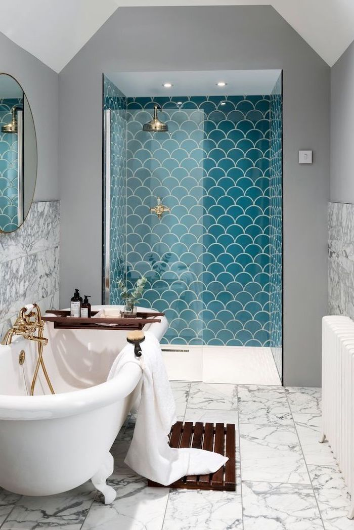 blue mermaid scale tiles in the shower bathroom backsplash ideas marble tiles on the floor and half of gray walls around bathtub