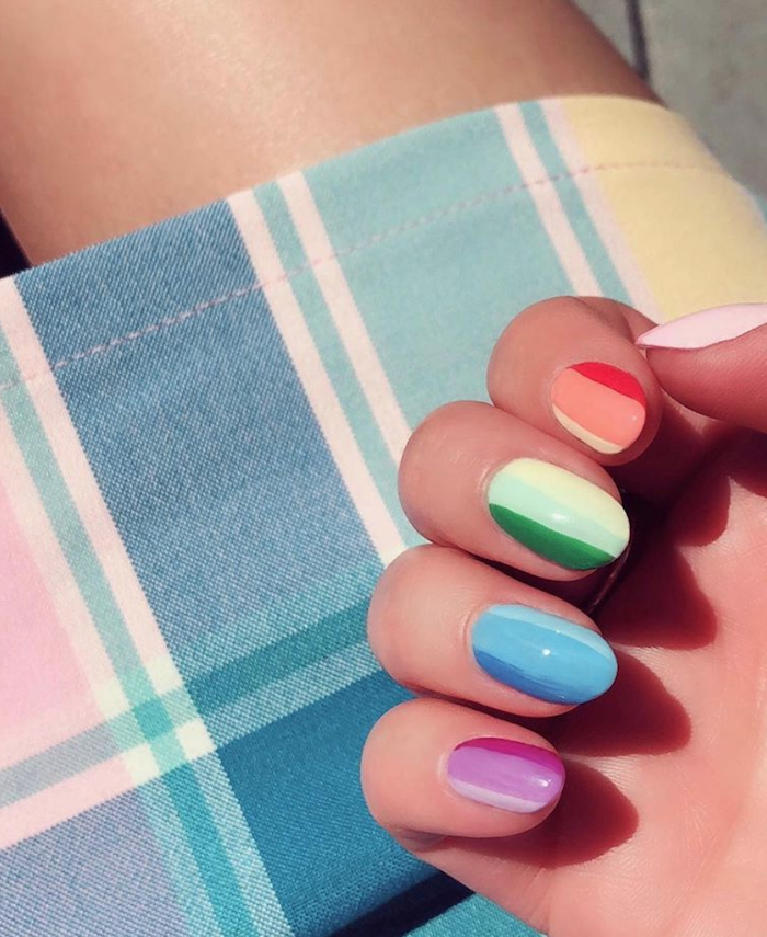 blue pink green red orange shades on each nail summer acrylic nail designs short almond nails