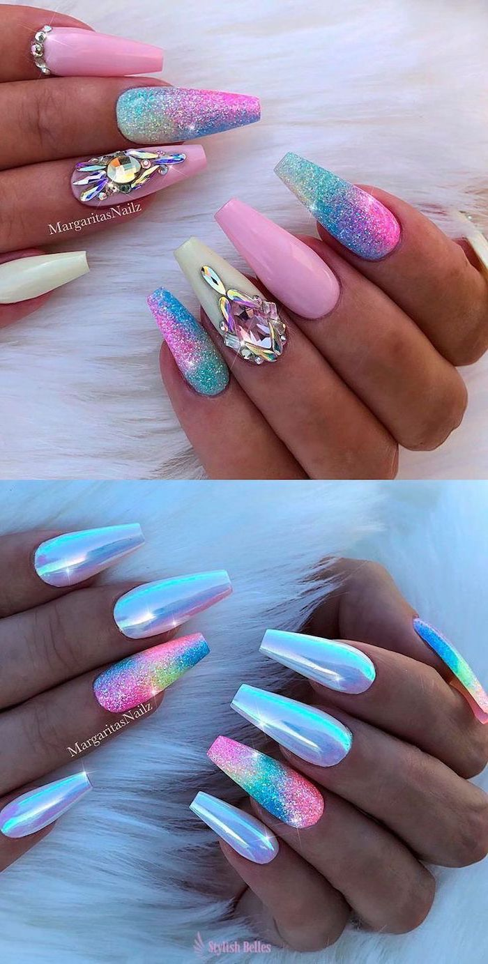 blue pink white mermaid nails with glitter cute nail designs monochromatic decorations with rhinestones and glitter long coffin nails