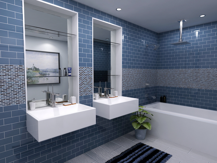 blue subway tiles with small mosaic accents going through the middle of the walls bathroom floor tiles in white