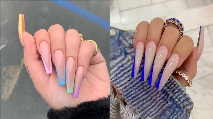 coffin nails side by side photos cute acrylic nail ideas french manicure in blue yellow pink green purple