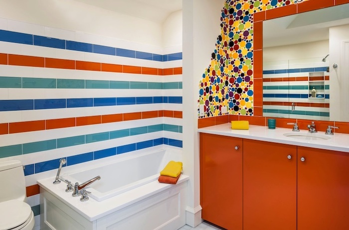 colorful accents on white walls in blue orange green yellow bathroom tile ideas for small bathrooms orange vanity