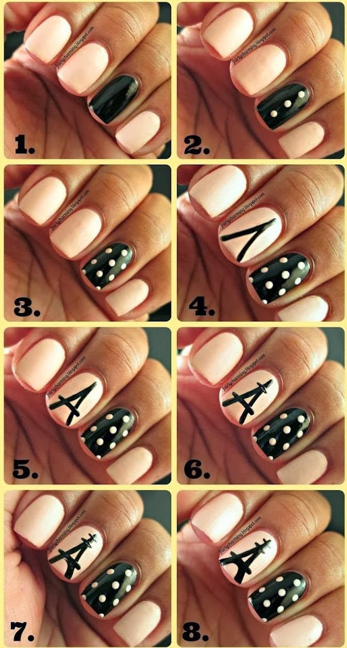 cute nail designs step by step diy tutorial photo collage pink and black nail polish eiffel tower drawn on middle fingers