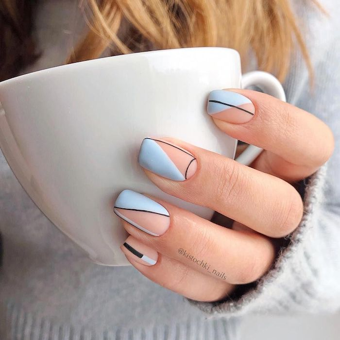 cute nail ideas nude and blue matte nail polish with black lines on medium length squoval nails