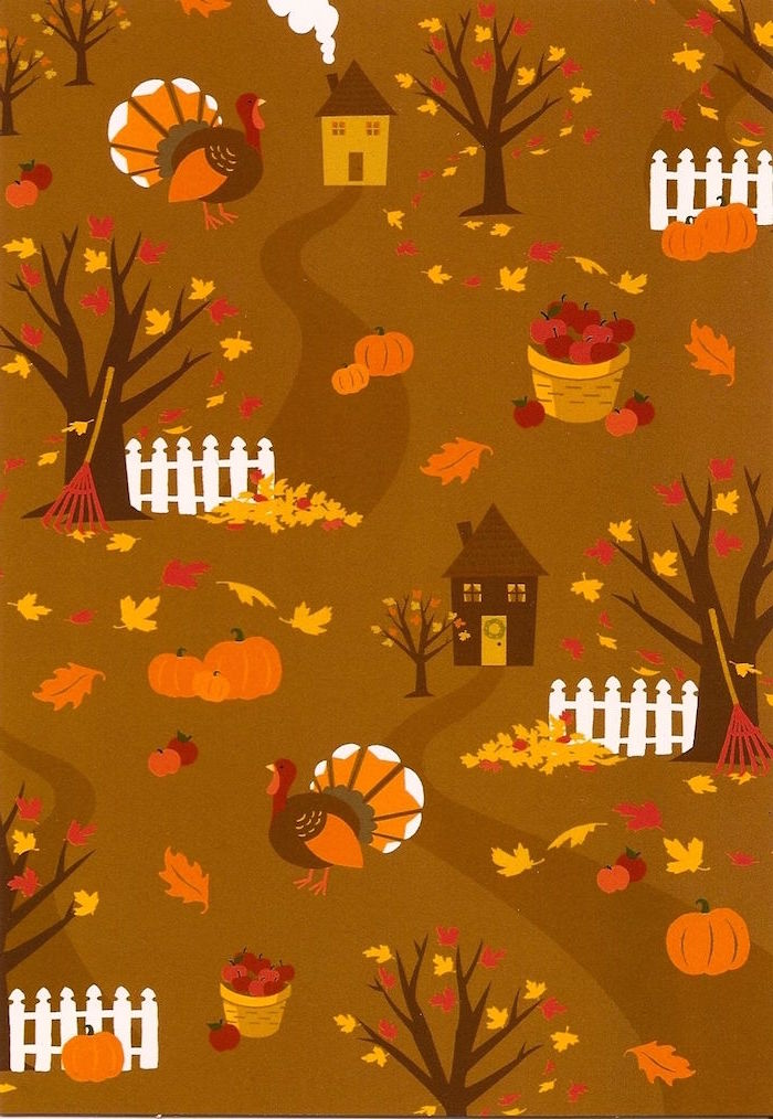 cute thanksgiving backgrounds orange background drawings of turkeys houses trees baskets full of apples