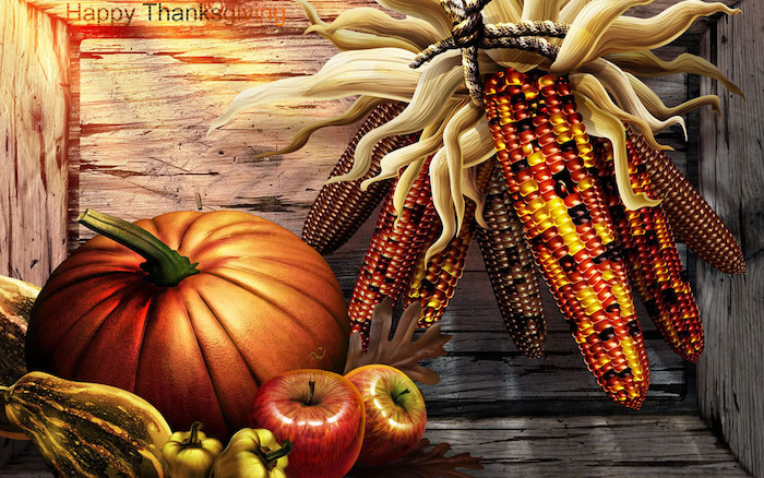 cute thanksgiving wallpaper digital drawing of corn pumpkin apples peppers in wooden crate